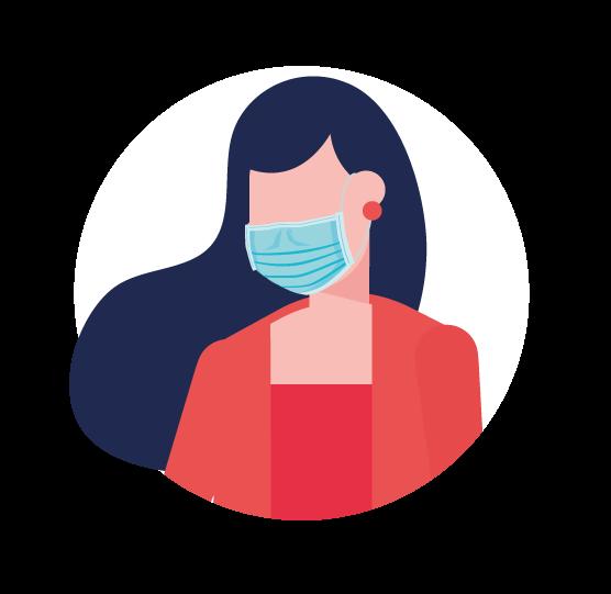 illustration femme avec masque chirurgical