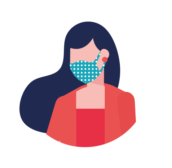 illustration femme avec masque tissu