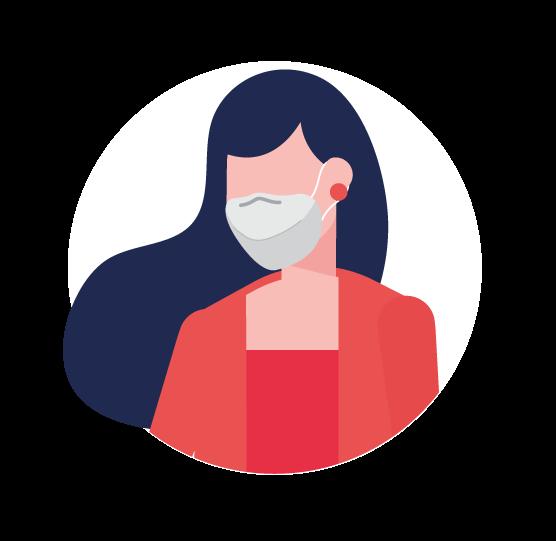 illustration femme avec masque ffp